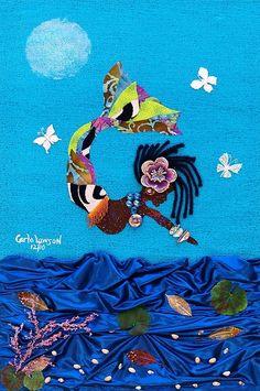 Orisha Canvas Print - Yemaya by Carla J Lawson Mermaid Man, Black Mermaid, Mermaid Images, Mermaid Pictures, Yemaya Orisha, Mermaids And Mermen, Thing 1, Canvas Art, Canvas Prints
