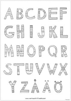 Väritettävä aakkostaulu A3-koossa Early Education, Early Childhood Education, Adult Coloring Pages, Hobbies And Crafts, Speech Therapy, Learning Activities, Language Arts, Alphabet, Preschool