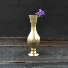Small Brass Vase - Bud Vase - Hand Etched Flowers - Made in India - Taper Candle Holder - Candlestick Holder - Vintage by TheCherryAttic on Etsy