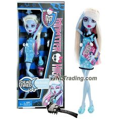 "Mattel Year 2012 Monster High ""Dead Tired"" Series 10 Inch Doll - Abbey Bominable ""Daughter of The Yeti"" with Pair of Slippers, Food Bucket, Hairbrush and Doll Stand (X6917)"