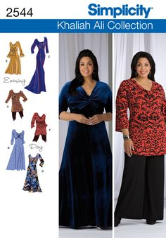 2544 Misses' & Plus Size Dresses    Misses' Plus Size Khalia Ali Collection knit dress in three lengths or tunic with bodice variations sewing pattern. See video tab for an in depth interview with Khaliah herself!