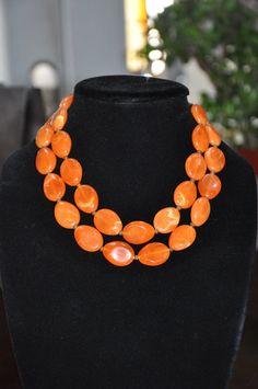Vintage Mid Century Orange Multi strand necklace by StardustBijoux, $25.00