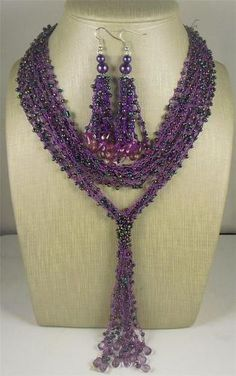 """Seed Bead Necklace & Earring Set.  Material: Seed Bead  Length of Necklace: 16-30""""  Length of Earrings: 2"""""""