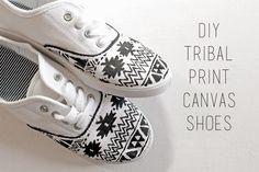 DIY Tribal Print Canvas Shoes