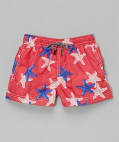 Look at this 98 Coast Av. Coral Starfish Swim Trunks - Boys on #zulily today!