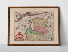 Old Map of Latvia, originally created by Willem Janszoon Blaeu, now available as a 'museum quality' poster print. Old World Maps, Vintage World Maps, Historical Maps, Riga, Travel Posters, Giclee Print, Poster Prints, Museum, Uppsala