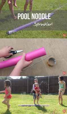How to turn a pool noodle into a sprinkler - SO EASY! Perfect for hot summer days!