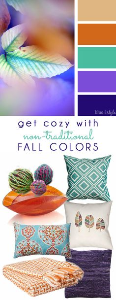 COZY FALL COLORS! A simple mood board to help you bring these non-traditional fall colors of orange, teal, and purple into your home decor.