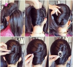 Chic Chignon hairstyle is perfect for you, if you want to special hairdo for a party or occasion. Chignon hairstyle gives a unique look to your hair. Roll Hairstyle, Braided Hairstyles Updo, Protective Hairstyles, Hairstyles With Bangs, Trendy Hairstyles, Wedding Hairstyles, Bangs Updo, Fashion Hairstyles, Chignon Hairstyle