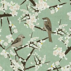 Emily Burningham Hawthorn & Sparrows print in grey-green Linen for light upholstery, curtains and blinds. www.emilyburningham.com