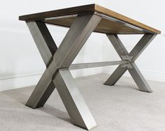 Description: Fresh from the factory, we bring you the Unique Bespoke Industrial X Dining table. An Absolutely stunning piece of furniture