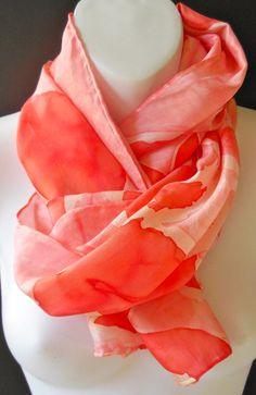 Soft Pink SILK SCARF Hand Painted Silk by SilkScarvesJoanReese, $60.00