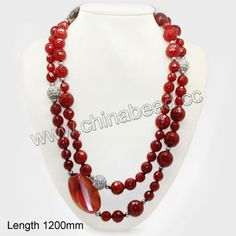 Fashion gemstone necklace, 12mm, 14mm, 16mm faceted round carnelian beads, 5mm round metal beads, 14mm round rhinestone zinc alloy beads in ...