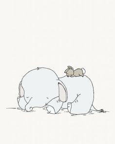Elephant and Bunny Nursery Art -- Sweet Dreams -- Elephant and Bunny --  Nursery Art Print -- Nursery Decor-- Children Art, Kids Wall Art