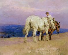 'Cart Horses on the Downs' by Lucy Elizabeth Kemp-Welch, 1917
