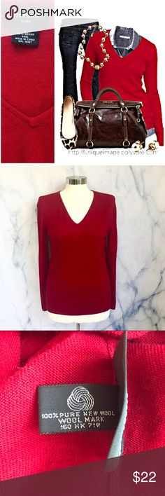 Sutton Studio Red Vneck Sweater Longsleeve red v-neck top, 100% merino wool. Hand wash. Sutton Studio from Bloomingdales, size large. Great for work or to wear casually! Also selling in brown, purple, gray. Bundle for a discount! First photo on right not actual item just showing for styling inspiration! Sutton Studio Sweaters V-Necks