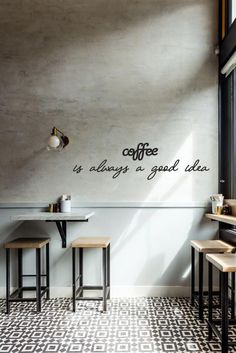Cafe Wall Decor Set, Coffee Lover Gift, Coffee is Always a Good Idea Wall Art, Coffee Quotes Wall Art Coffee is always a good idea Metal Wall Decor was designed by BlackIvy Craft. This coffee quote is Cafe Shop Design, Coffee Shop Interior Design, Coffee Design, Small Cafe Design, Bakery Interior Design, Coffee Cafe Interior, Cozy Coffee Shop, Small Coffee Shop, Coffee Shops