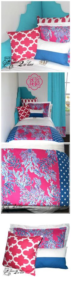 Lilly dorm room bedding. LIMITED QUANTITIES. Order today to secure your Lilly bedding! Designer headboard, custom Lilly pillows, exclusive Lilly two-toned bed scarf, Lilly window panels, wall art, bed skirts, custom monogramming and more!! Preppy dorm room bedding and decor
