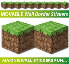 Minecraft Wall Border Stickers - Totally Movable