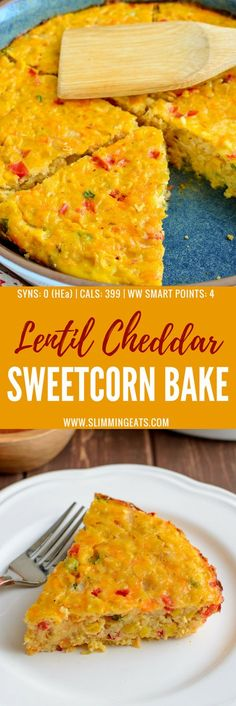 vegetarian Lentil Cheddar Sweetcorn Bake is perfect for a quick grab and go lunch or snack. Gluten Free, Vegetarian, Slimming World and Weight Watchers friendly. Slimming World Lunch Ideas, Slimming World Vegetarian Recipes, Slimming Recipes, Slimming World Quiche, Lunch Recipes, Diet Recipes, Cooking Recipes, Healthy Recipes, Recipies