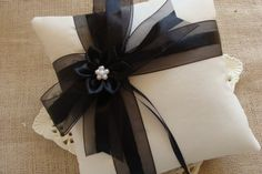 Wedding Ring Bearer Pillow  Black Organza Bow with by crafting4u, $28.00