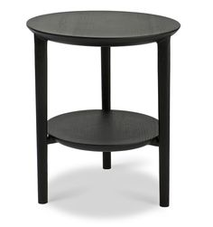 Ethnicraft Oak Bok side table, black - 51510 - - The new side table is the next step in the Bok collection's expansion. Black Side Table, Metal Side Table, Side Tables, Furniture For You, Table Furniture, Window Coffee Table, Swivel Recliner Chairs, Round Beds, Table Dimensions