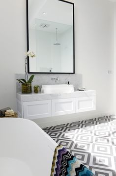Bathroom with a floating vanity designed on Block Glasshouses, via @sarahsarna.
