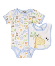 Look at this #zulilyfind! chick pea Yellow Jungle Out There Bodysuit & Bib by chick pea #zulilyfinds