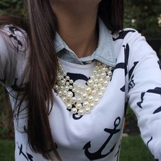 love this anchor sweater and I love the pearls!!!! I don't know what I would do without my pearls and monogrammed necklace!!!!!!