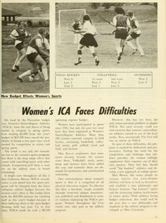 """Ohio University Alumni Journal, February 1973. """"Women's ICA Faces Difficulties"""" explores the budget problems that could cancel spring sports for the 1972-1973 school year. :: Ohio University Archives"""