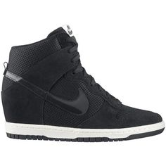 Nike Dunk Sky Hi Essential Black ($150) ❤ liked on Polyvore featuring shoes, sneakers, nike, zapatos, chaussures, shoe club, women, nike footwear, black sneakers and black shoes