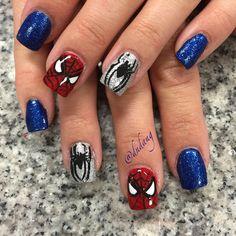 Amazing Spiderman Nail Art Designs Ideas You Can Try at Home Now! Cute Nails, Pretty Nails, Superhero Nails, Marvel Nails, Kawaii Nail Art, Nails For Kids, Disney Nails, Toe Nail Designs, Halloween Nail Art