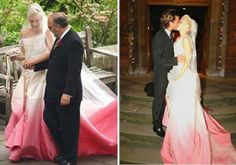 Gwen Stefani wore a custom designed John Galliano creation for her 2002 wedding to Gavin Rossdale. The pink and white ombre gown was paired with an antique lace veil.