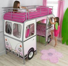 Buy The Best And New Car Beds For Girls: Pink Multipurpose De Van Car Bed