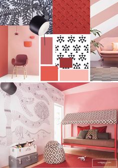 LA FRENCH STUDIO interior design, moodboard, kid's room, madhubani, chambre d enfant, dessin, graphisme, terracotta, rose, black & white, puffy, house, caban, tent, cabane, tente, pouf, malle indienne, indian malle, india, inde, bungalow, bandra, mumbai, bombay