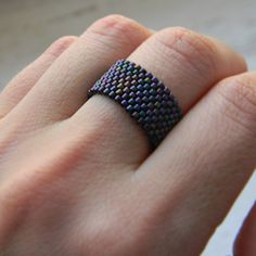 Dark purple ring Wide everyday ring size 4 5 6 7 8 9 10 11 12