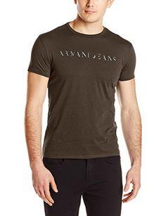 Armani Jeans Men's Slim Fit Embossed Foil Print Crew Neck Tee, Brown, Large. Slim fit. Pima cotton jersey.