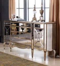 Glamorous mirrored furniture - Mirrored living room furniture via mylusciouslife.jpg