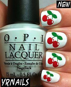 cool Electronics, Cars, Fashion, Collectibles, Coupons and Crazy Nail Art, Crazy Nails, Cute Nail Art, Cute Nails, Pretty Nails, My Nails, Cherry Nail Art, Fruit Nail Art, Fruit Nail Designs