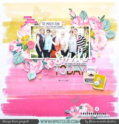 12x12 scrapbook layout created with @hipkitclub April 2017 kits featuring @pinkpaislee @paigeevans Oh My Heart collection and @crate_paper Chasing Dreams collections. by @floramfarkas