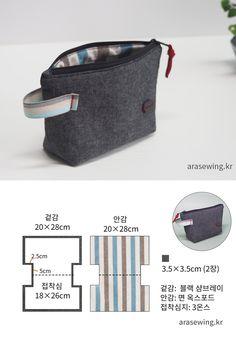 기본 파우치 만들기/지퍼 끝을 깔끔하게 마감하는 바느질 Bag Pattern Free, Pouch Pattern, Sewing Tutorials, Sewing Projects, Pouch Tutorial, Zipper Pouch, Leather Craft, Couture, Diy And Crafts