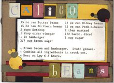Recipe card - Calico Beans