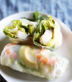 A gal can't live on green salads alone. That's why, inspired by Emma's idea to eat a salad inside a pita pocket, I decided to wrap a salad inside a rice paper roll, creating a fresh, crunchy summer roll that is a cinch to throw together. Roasted shrimp, chunks of avocado and crisp romaine are wrapped up and dipped in a creamy miso-tahini dressing for a cool, satisfying summer lunch or dinner.