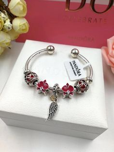 pandora orchid angel wing open bangle cmbracelet