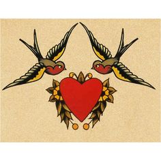 Sailor Jerry swallows and heart