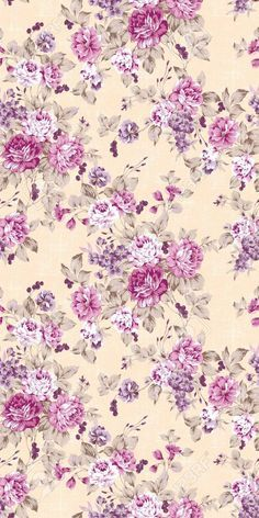 This is pretty. Rose and purple flowers on a beige background.
