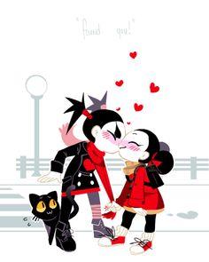 Pucca and Garu Couple Cartoon, Cartoon Shows, Cartoon Characters, Pucca Anime, Kawaii Anime, Death Note, Cartoon Network Fanart, Different Art Styles, Funny Love