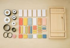 Wooden tsumiki-sushi set. The limited edition sushi set was originally created for the Design Ah exhibition.