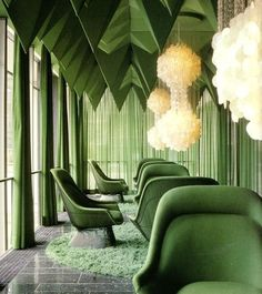 Verner Panton's 1969 interiors for the Spiegel Publishing house in Hamburg is one of his most unique interior works. Panton designed nearly everything inside, color schemes, lamps, textiles, and interior design house design de casas Home Interior Design, Interior Architecture, Interior And Exterior, Interior Sketch, Classic Interior, Interior Photo, Emerald Green Rooms, Emerald City, Deco Restaurant