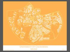 University of California Irvine Campus Map Art by Artalytics UC